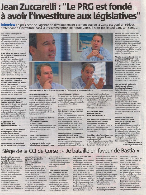 Interview - Corse-Matin 30 septembre 2011