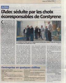 Article « L'ADEC séduite par les choix écoresponsables de Corstyrène » - Corse-Matin 25 octobre 2011