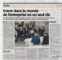 Article « Entrer dans le monde de l'entreprise en un seul clic » - Corse-Matin 26 octobre 2011
