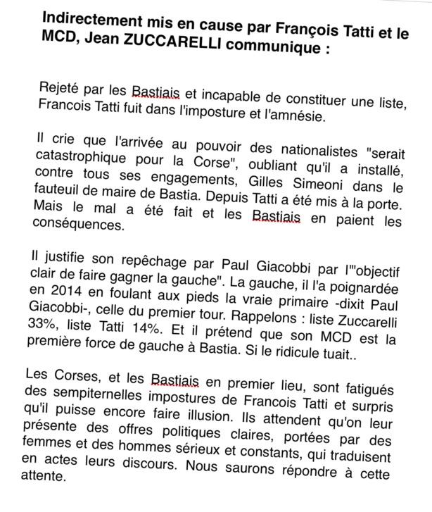 Réaction aux propos de Francois Tatti et du MCD.