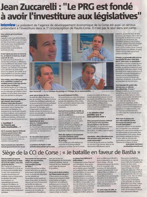 Interview - Corse-Matin 30 septembre 2011