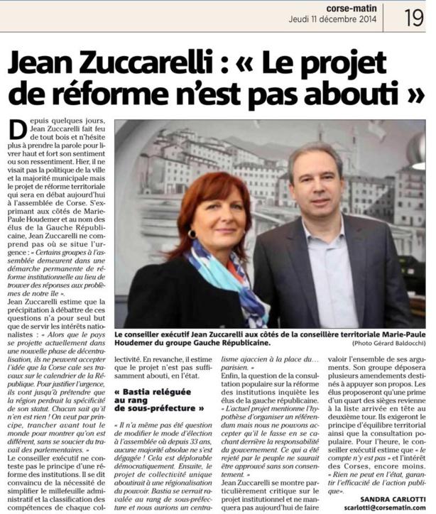 Point presse des élus de la Gauche Républicaine de Haute Corse sur le projet de réforme territoriale de la Corse