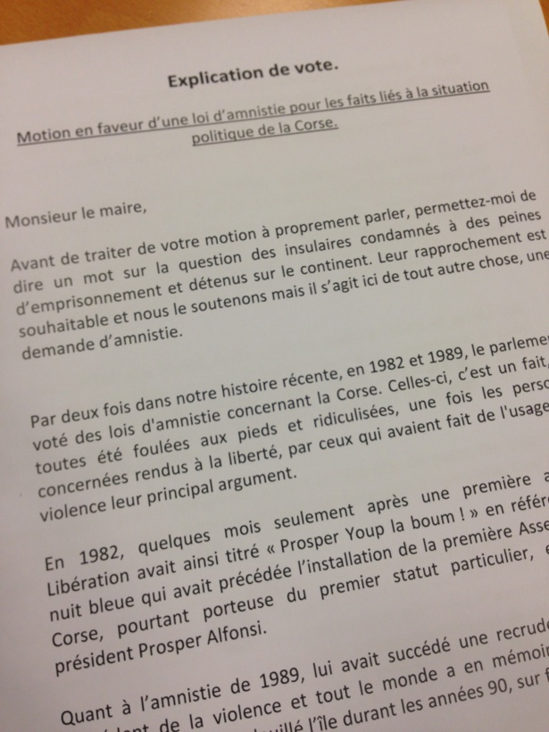 Vote contre la motion d'amnistie : notre explication de vote.