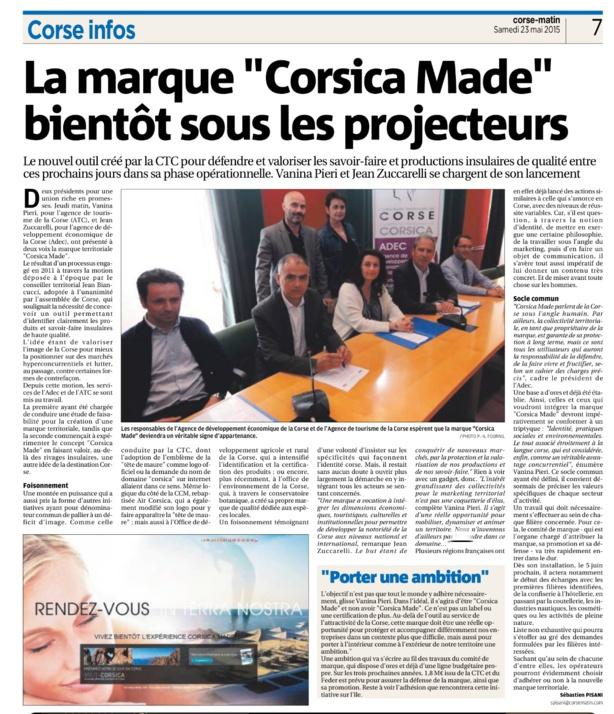 Corsica Made: nos produits protégés et notre identité valorisée au service du développement économique.