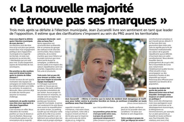 """Interview Jean Zuccarelli """"La nouvelle majorité ne trouve pas ses marques"""" - Corse-Matin 1er juillet 2014"""