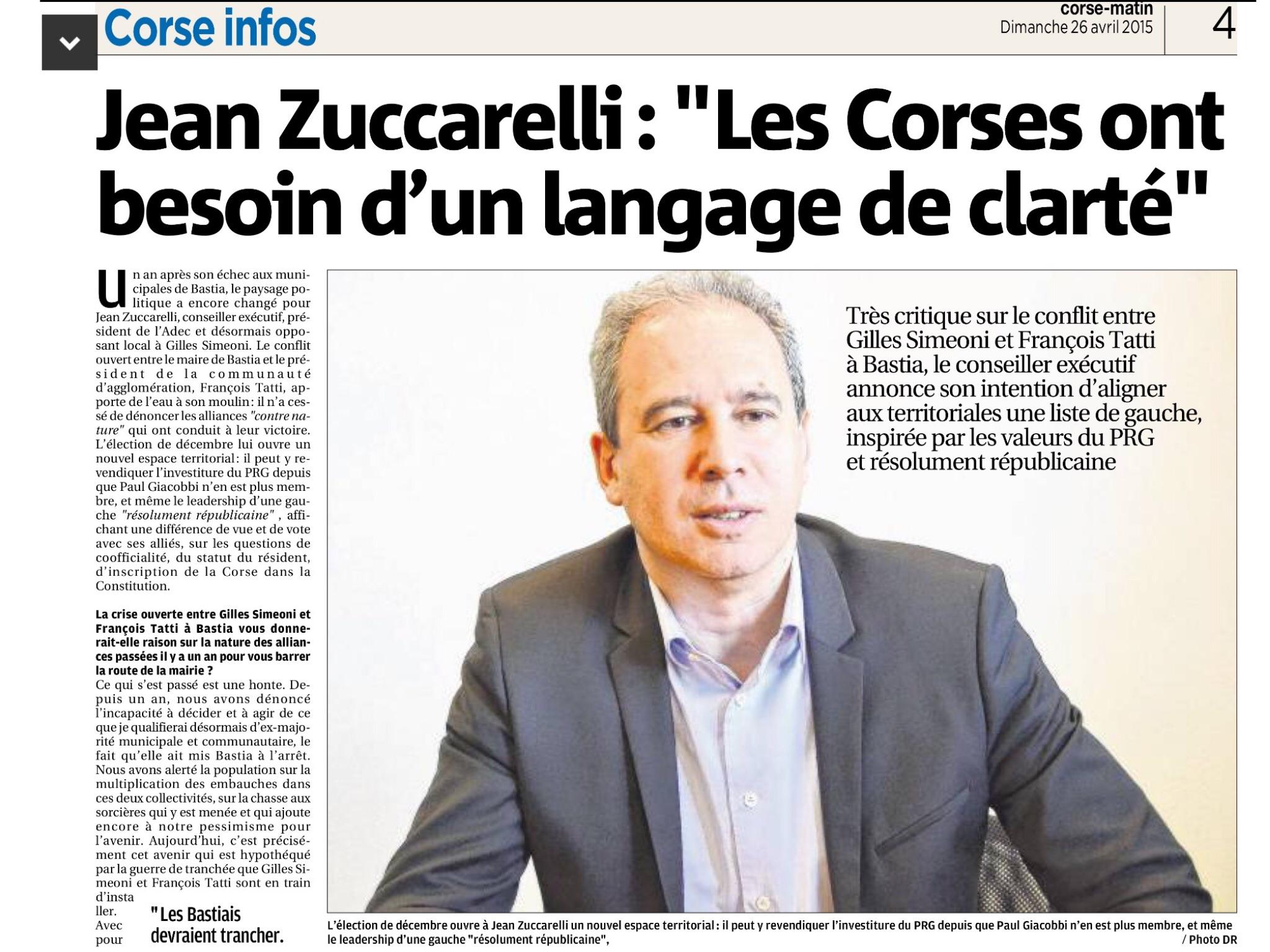 Mon interview paru dans le Corse Matin du dimanche 26 avril 2014
