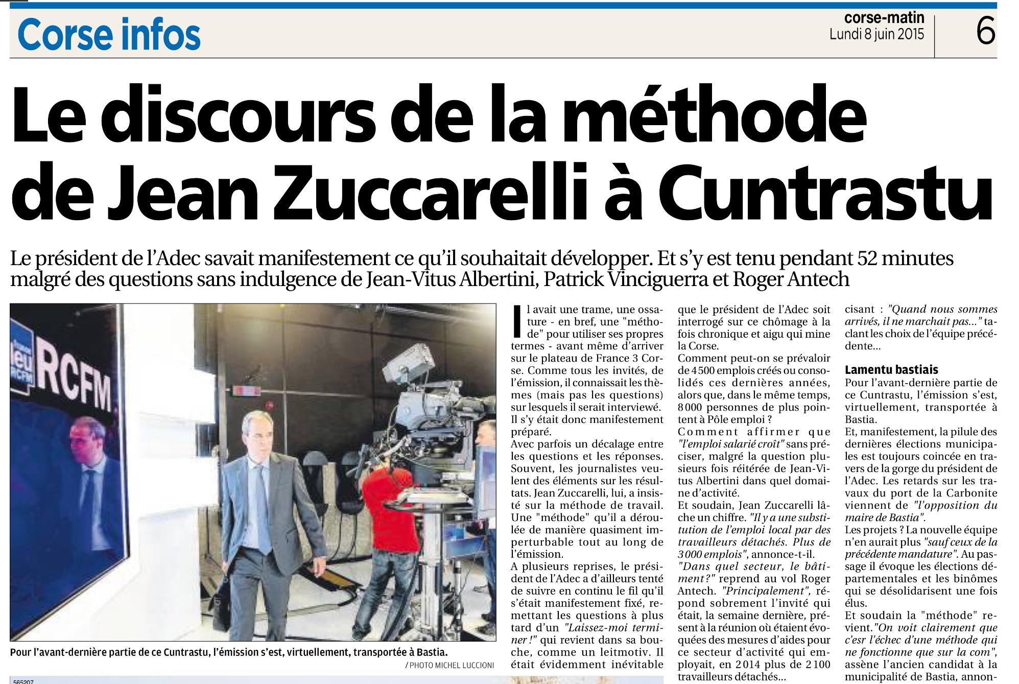 Corse Matin revient sur mon passage au magazine Cuntrastu