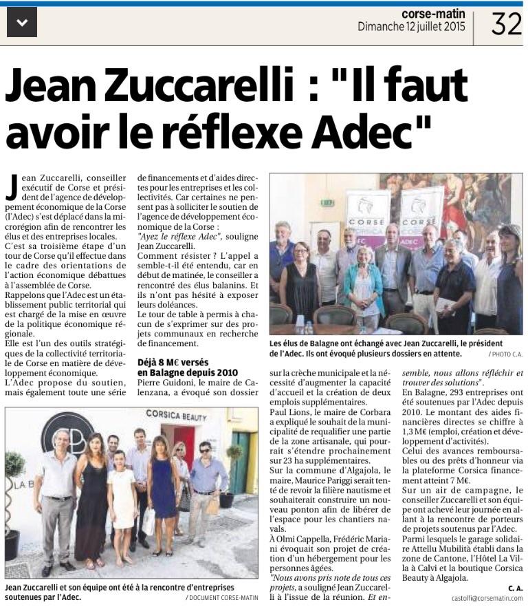 Avec l'ADEC, en Balagne au contact des élus et des entrepreneurs.
