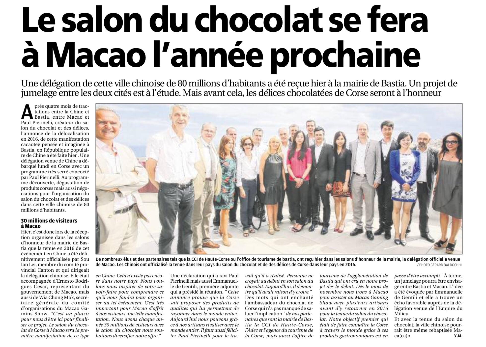 Le salon du chocolat s'exporte à Macao.