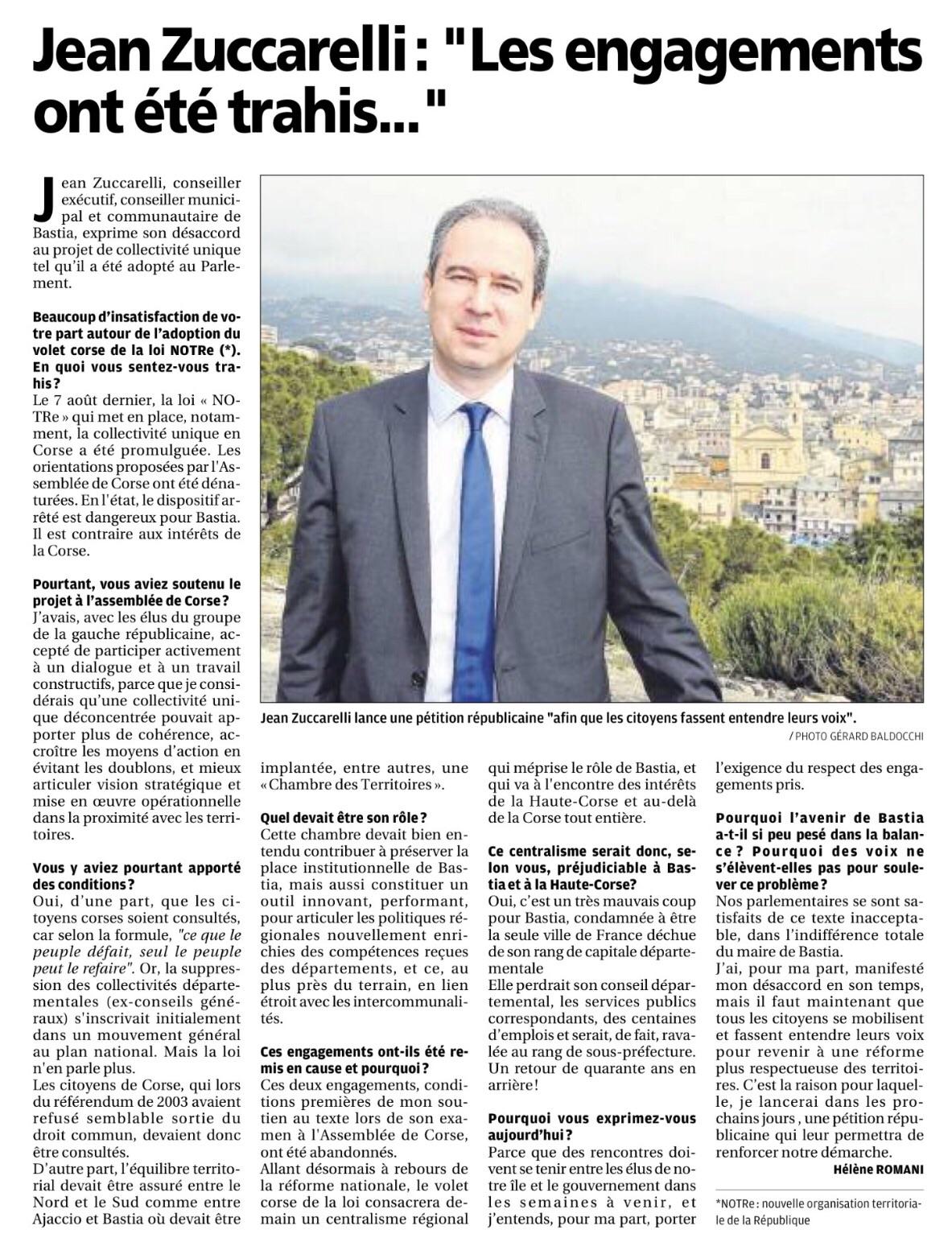 En l'état, le projet de collectivité unique est catastrophique pour Bastia et contraire aux intérêts de la Corse.